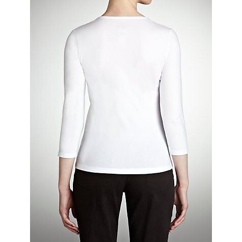 Buy John Lewis 3/4 Sleeve Double Layer Top, White Online at johnlewis.com