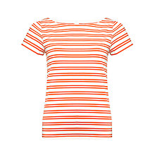 Buy Kin by John Lewis Slashed Neck Stripe Top, Paprika/Ecru Online at johnlewis.com