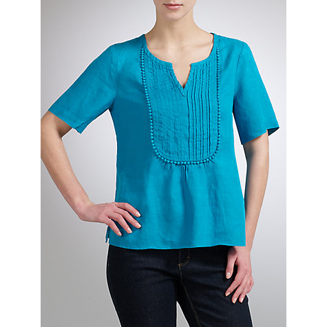 Buy John Lewis Linen Trim Insert Pleated Top Online at johnlewis.com