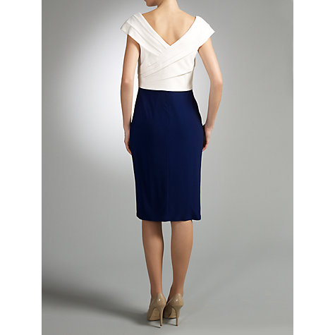 Buy Gina Bacconi Pleated Bodice Dress, Navy/Ivory Online at johnlewis.com