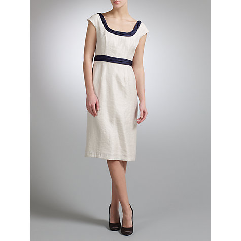 Buy Gina Bacconi Shimmer Shift Dress, Cream Online at johnlewis.com