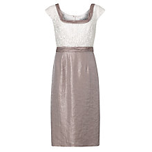 Buy Gina Bacconi Shimmer Shift Dress, Oyster Online at johnlewis.com