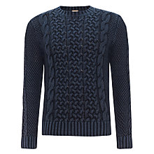Buy JOHN LEWIS & Co. Acid Cable Crew Neck Jumper, Indigo Online at johnlewis.com