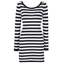 Buy Armani Jeans Jersey Stripe Dress, Navy/White Online at johnlewis.com