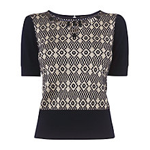 Buy Phase Eight Beaded Jacquard Jumper, Navy Online at johnlewis.com