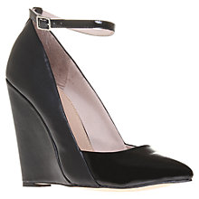 Buy KG by Kurt Geiger Cristal Leather Mix Wedge Heel Court Shoes, Black Online at johnlewis.com