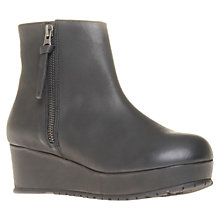 Buy Kurt Geiger Solomon Leather Flatform Ankle Boots, Black Online at johnlewis.com