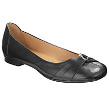 Buy Gabor Frost Pleat Twist Trim Leather Ballet Pumps, Black Online at johnlewis.com