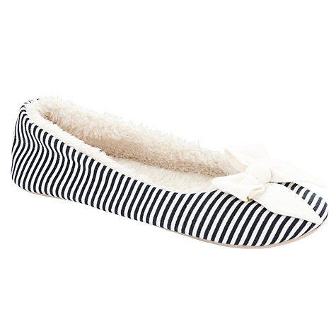 Buy John Lewis Mars Stripe Bow Trim Slippers, Navy Online at johnlewis.com