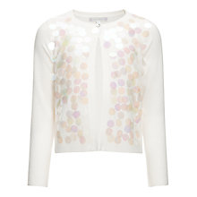 Buy John Lewis Girl Large Sequined Cardigan, Cream Online at johnlewis.com