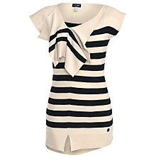 Buy Armani Jeans Folded Neck Striped Jumper, Black/Beige Online at johnlewis.com