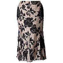 Buy Chesca Rose Print Pleated Skirt, Black Online at johnlewis.com