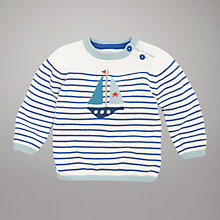 Buy John Lewis Baby Striped Boat Jumper, White/Blue Online at johnlewis.com
