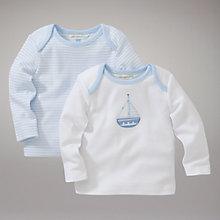 Buy John Lewis Baby Layette Stripe and Boat Tops, Pack of 2, Blue/White Online at johnlewis.com