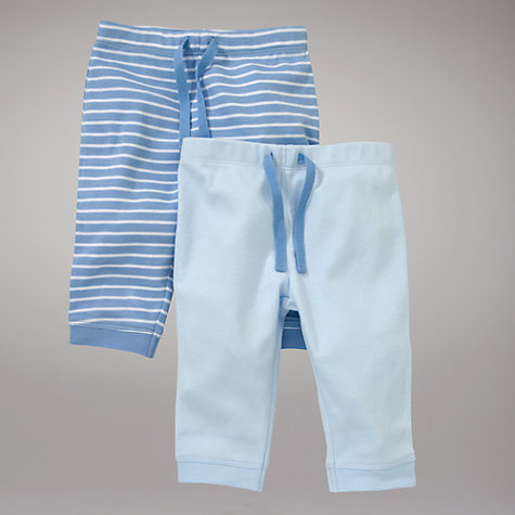Buy John Lewis Baby Layette Stripe and Plain Trousers, Pack of 2, Blue Online at johnlewis.com
