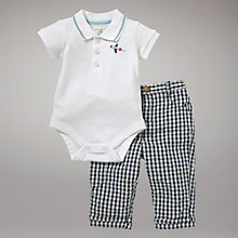 Buy John Lewis Baby Polo Bodysuit and Trouser Set, White/Blue Online at johnlewis.com