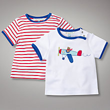 Buy John Lewis Baby Stripe and Plane Top, Pack of 2, Red/White Online at johnlewis.com