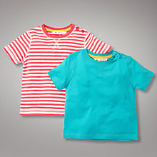 Buy John Lewis Short Sleeved T-Shirts, Pack of 2, Red Stripe/Turquoise Online at johnlewis.com