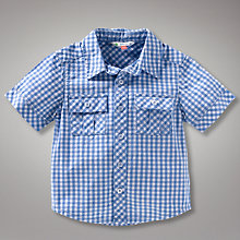 Buy John Lewis Short Sleeved Gingham Shirt, Blue Online at johnlewis.com