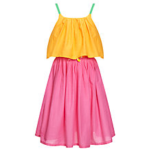 Buy John Lewis Girl Colour Block Tiered Dress, Orange/Pink Online at johnlewis.com