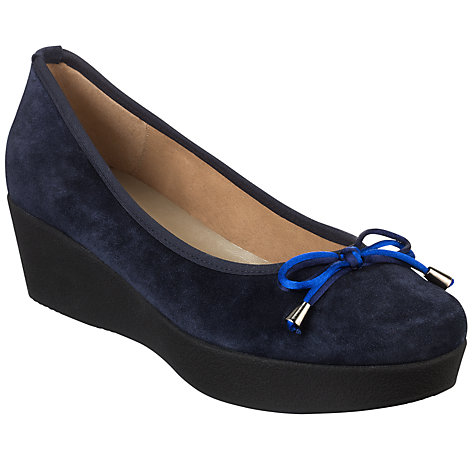 Buy John Lewis Cannes Suede Flatform Ballerina Pumps, Navy Online at johnlewis.com