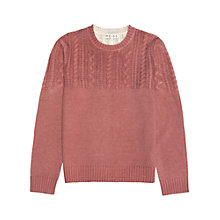 Buy Reiss Burner Cable Knit Crew Neck Jumper, Rose Online at johnlewis.com
