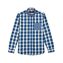 Buy Ted Baker Emlett Check Long Sleeve Shirt, Blue Online at johnlewis.com