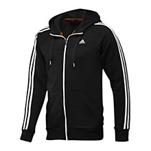 Buy Adidas Essentials 3 Stripes Full Zip Hoodie, Black Online at johnlewis.com