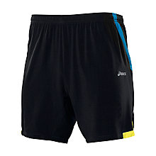 "Buy Asics Men's Woven 7"" Shorts, Black/Yellow Online at johnlewis.com"
