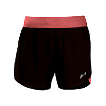 "Buy Asics Women's Woven 3.5"" Shorts, Black/Pink Online at johnlewis.com"