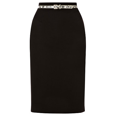 Buy Warehouse Belted Skirt, Black Online at johnlewis.com