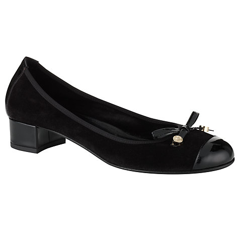 Buy John Lewis Gemito Bow Front Patent and Suede Block Heel Pumps, Black Online at johnlewis.com