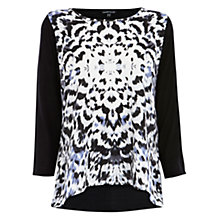 Buy Warehouse Printed Woven Front Top, Black Online at johnlewis.com