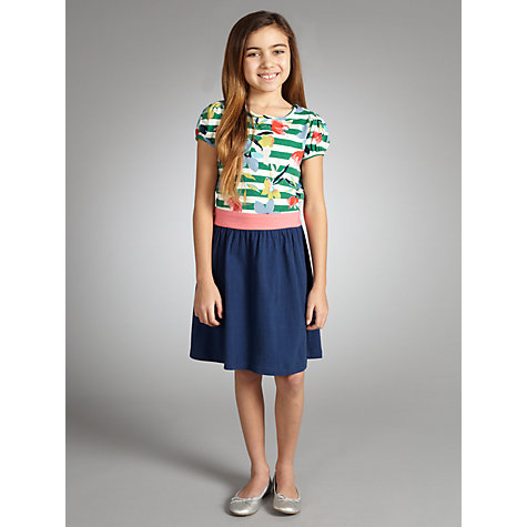 Buy Yumi Girls Floral Floral Stripe Dress, Navy Online at johnlewis.com