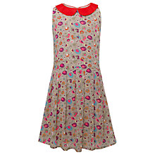 Buy Yumi Girls Belle Bird Printed Dress, Grey Online at johnlewis.com
