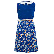 Buy Yumi Girls Ditsy Daisy Printed Dress, Blue Online at johnlewis.com