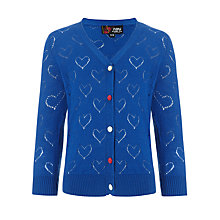 Buy Yumi Girls Heart Pointelle Cardigan, Blue Online at johnlewis.com