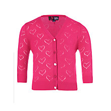 Buy Yumi Girls Valentine Heart Cardigan, Pink Online at johnlewis.com
