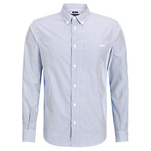 Buy Armani Jeans Button Down Collar Stripe Long Sleeve Shirt, Blue Online at johnlewis.com