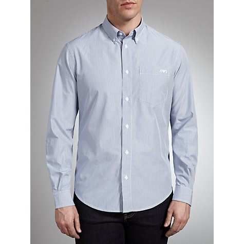 Buy Armani Jeans Button Down Collar Stripe Shirt, Blue Online at johnlewis.com