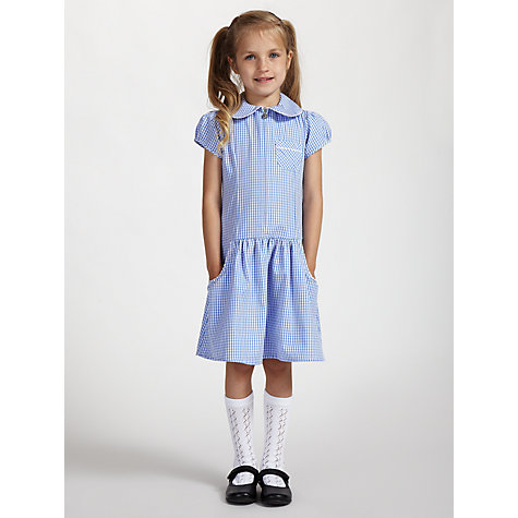 Buy John Lewis School Gingham A-Line Summer Dress, Blue Online at johnlewis.com