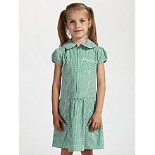 Buy John Lewis School Gingham A-Line Summer Dress, Green Online at johnlewis.com