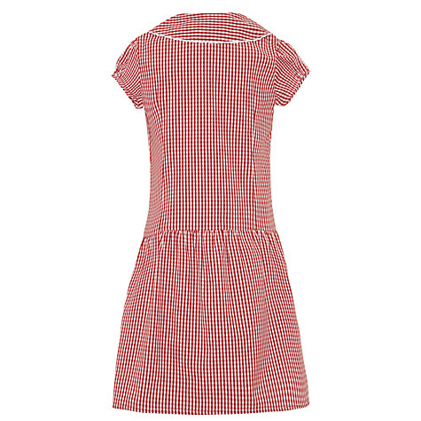 Buy John Lewis School Gingham A-Line Summer Dress, Red Online at johnlewis.com