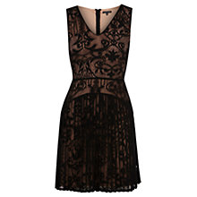 Buy Warehouse Pleat Lace Dress, Black Online at johnlewis.com