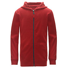 Buy Worn & Torn Zip Through Hoodie, Red Online at johnlewis.com