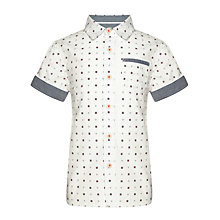 Buy Kin by John Lewis Boys' Square Print Short Sleeved Shirt, Cream Online at johnlewis.com