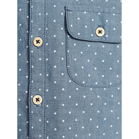 Buy Kin by John Lewis Boys' Chambray Spotted Long Sleeved Shirt, Blue Online at johnlewis.com
