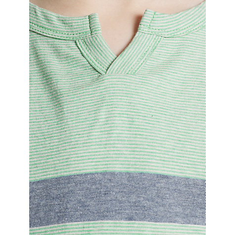 Buy John Lewis Boy Notch Neck Striped T-Shirt, Green/Blue Online at johnlewis.com