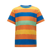 Buy John Lewis Boy Chunky Striped T-Shirt, Orange/Multi Online at johnlewis.com