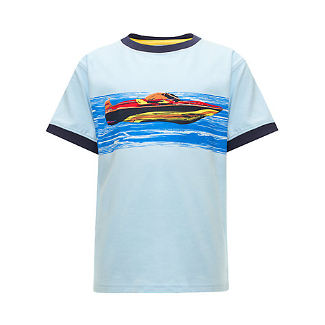 Buy John Lewis Boy Speedboat T-Shirt, Blue Online at johnlewis.com